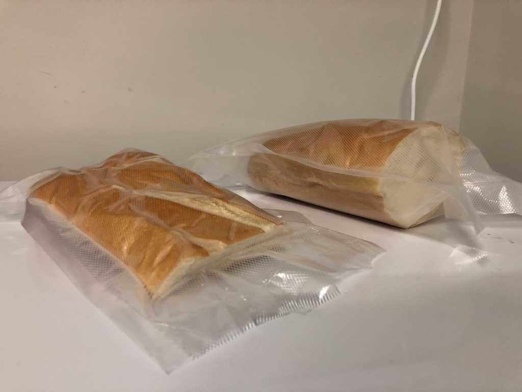 Vacuum-sealed vs just-sealed bread.